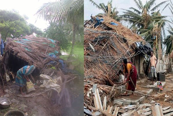 Provide a house to a poor family affected by cyclone